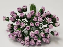 4mm PALE LILAC ROSE BUDS Mulberry Paper Flowers